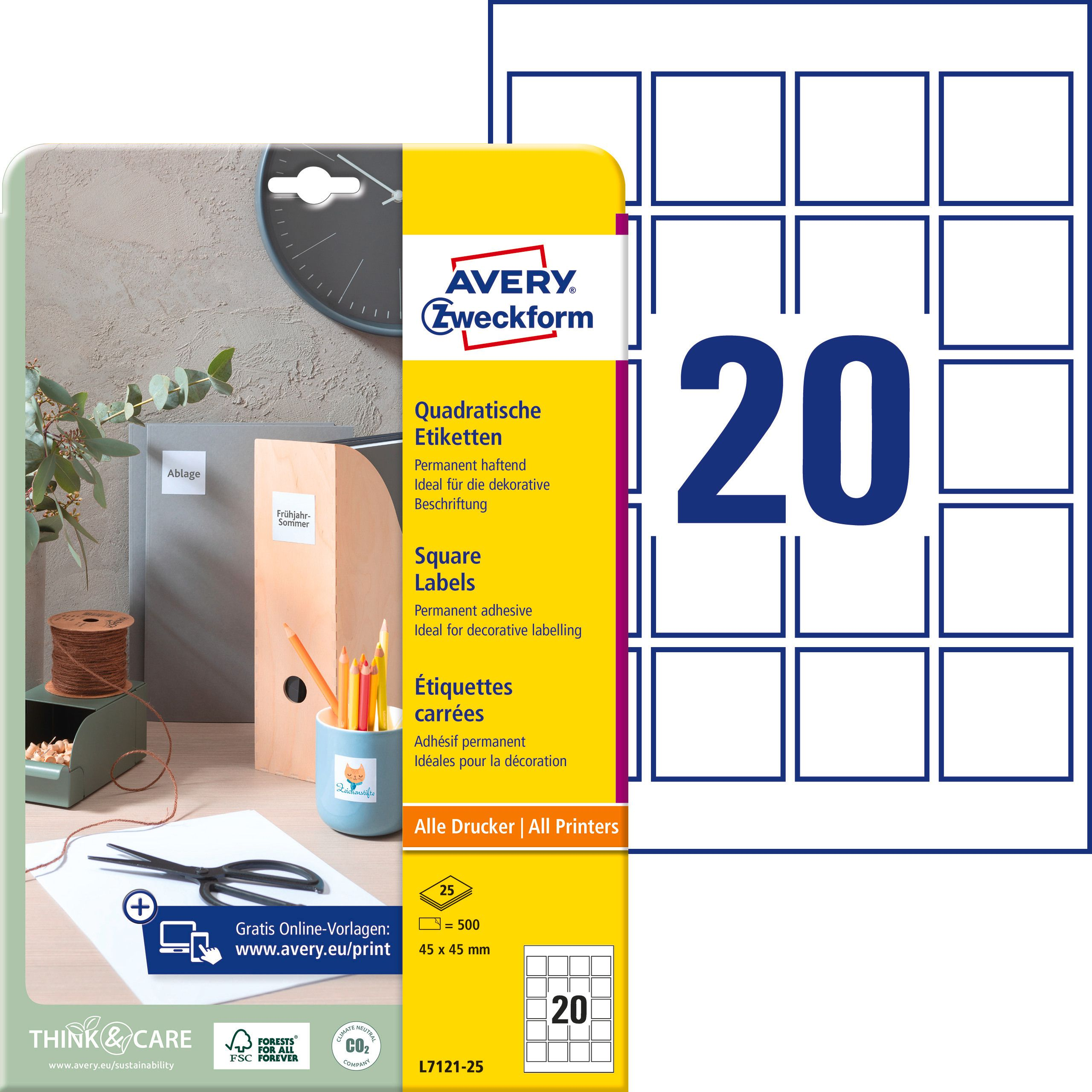 AVERY ZWECKFORM Etiquettes QR Code 45x45mm L7121 25 500 Pcs