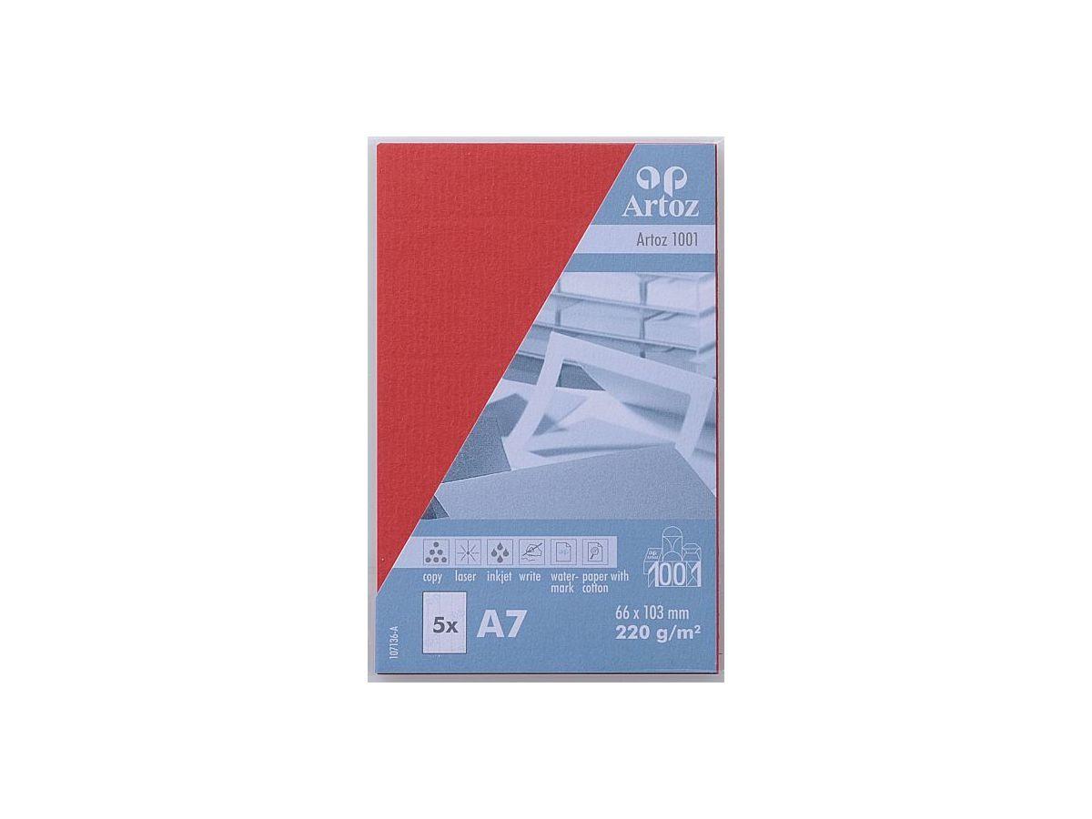ARTOZ Cartes De Visite 1001 A7 107136145 220g Rouge 5 Feuilles