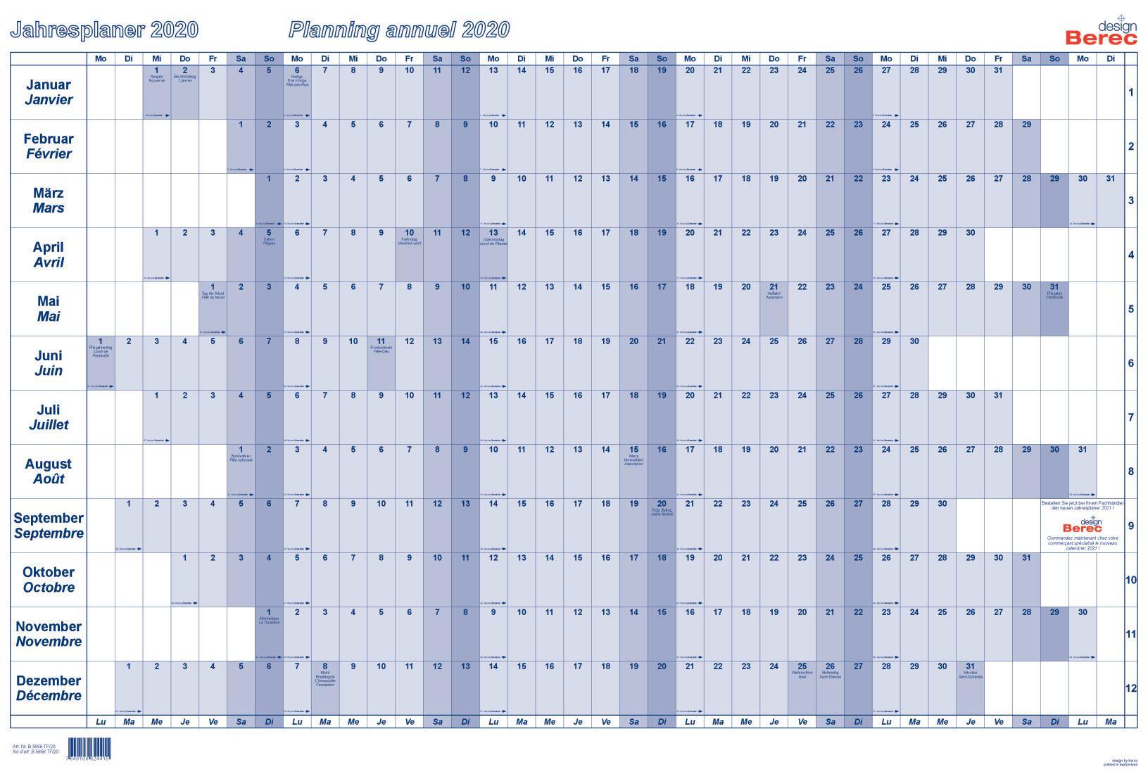 Calendario Annuale 2020.Berec Calendario Annuale 90x60cm B5666tf20 2020 Blu