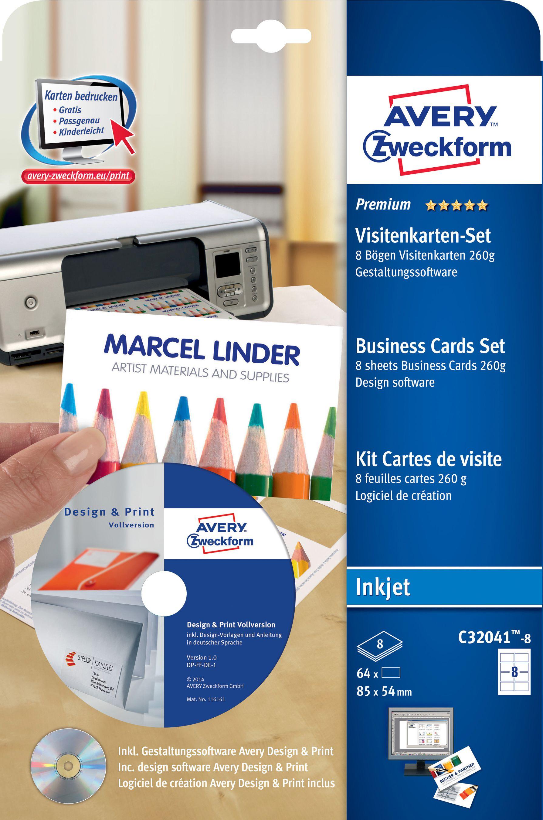 Avery Zweckform Visitenkarten Set 85x54mm A4 C32041 8 Weiss